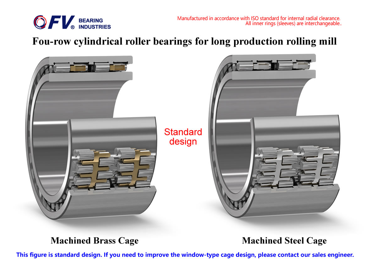 Four row cylindrical roller bearings (I.D.<340mm) for Wire,bar long production rolling mill